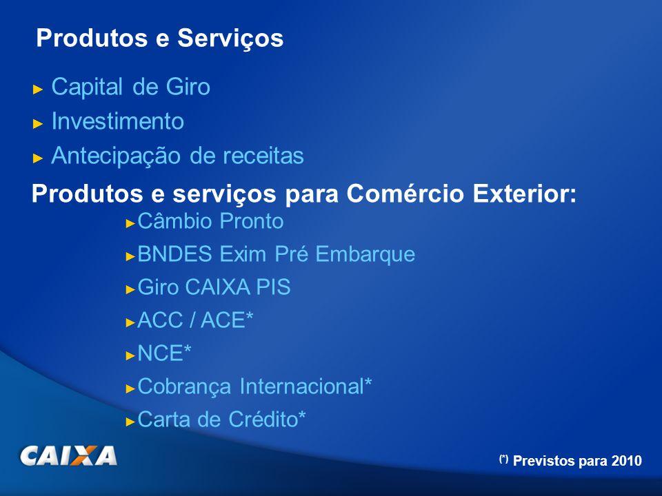 Produtos e serviços para Comércio Exterior: