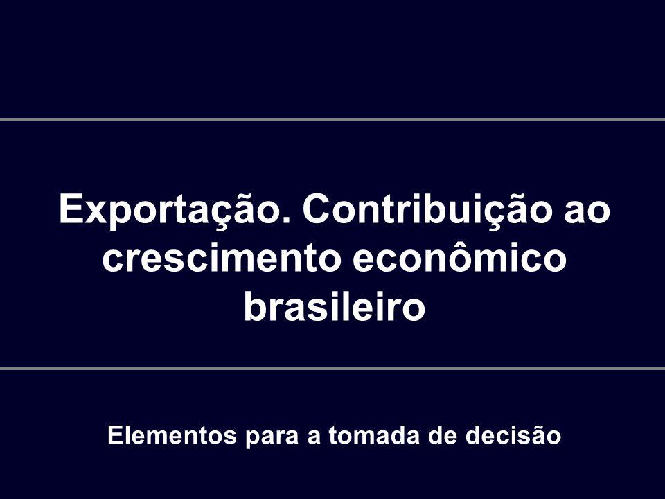 Exportação. Contribuição ao crescimento econômico brasileiro