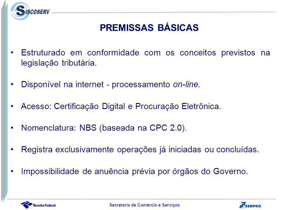 PREMISSAS BÁSICAS Estruturado em conformidade com os conceitos previstos na legislação tributária. Disponível na internet - processamento on-line.
