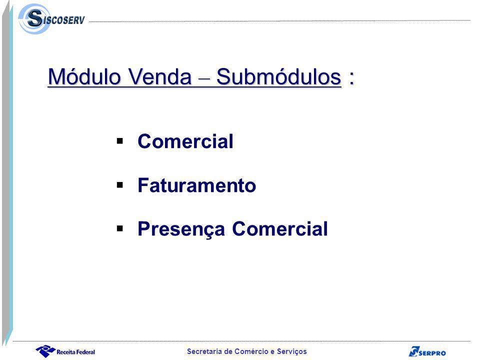 Módulo Venda – Submódulos :