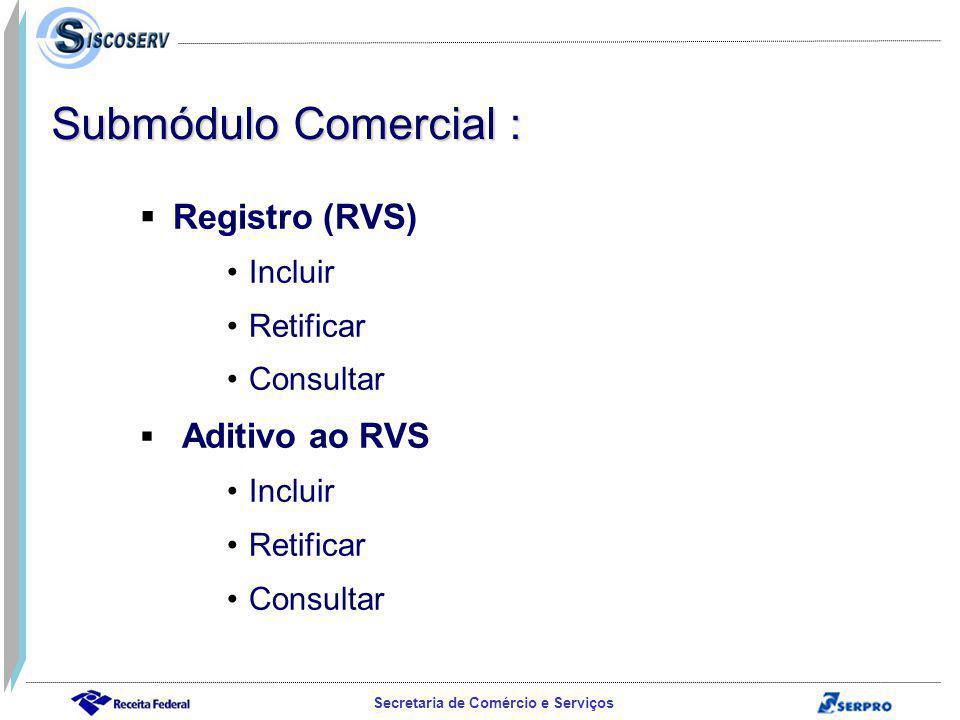 Submódulo Comercial : Registro (RVS) Incluir Retificar Consultar