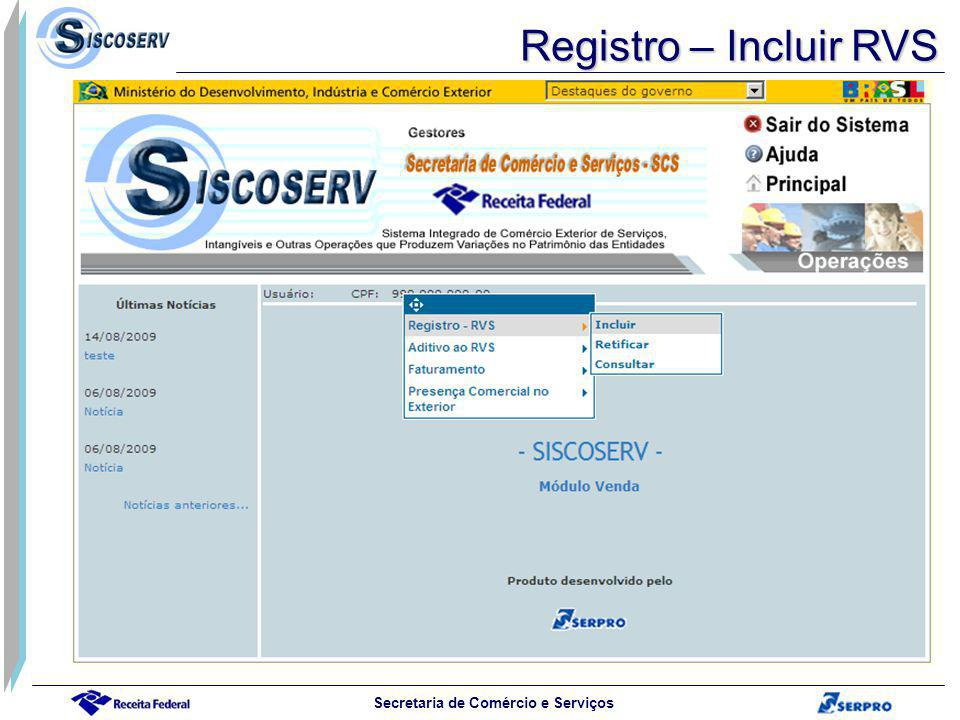 Registro – Incluir RVS