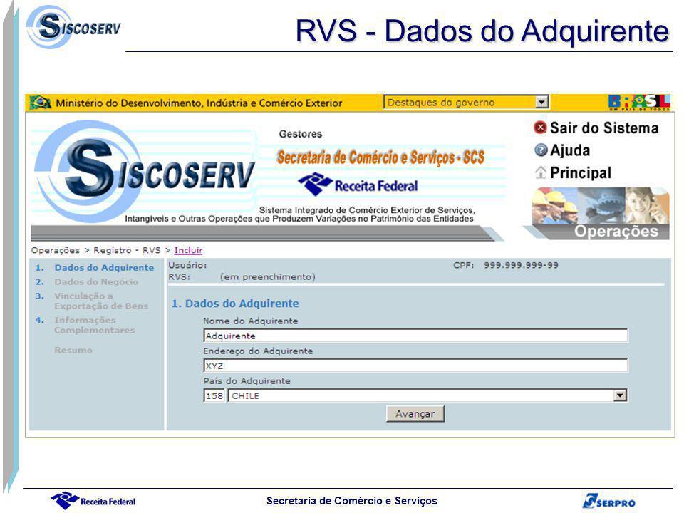 RVS - Dados do Adquirente