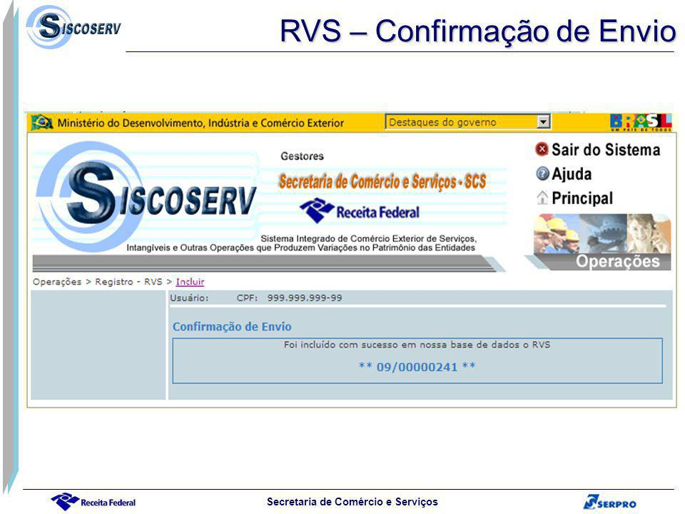RVS – Confirmação de Envio