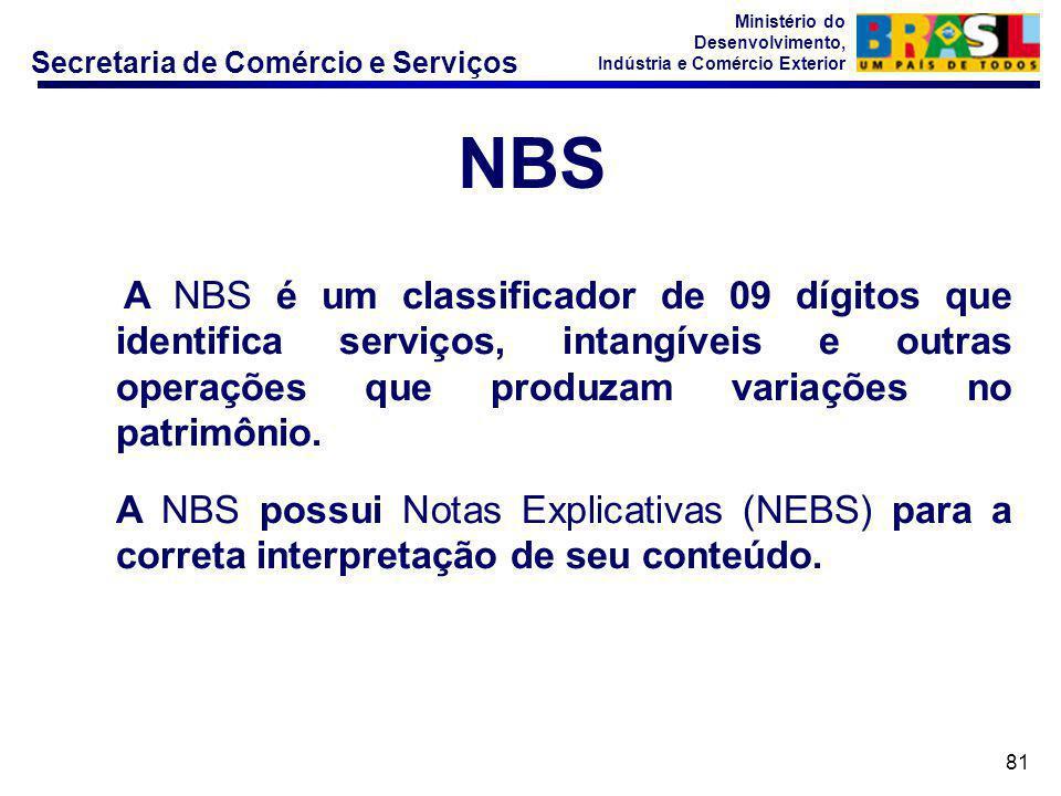 NBS A NBS é um classificador de 09 dígitos que identifica serviços, intangíveis e outras operações que produzam variações no patrimônio.