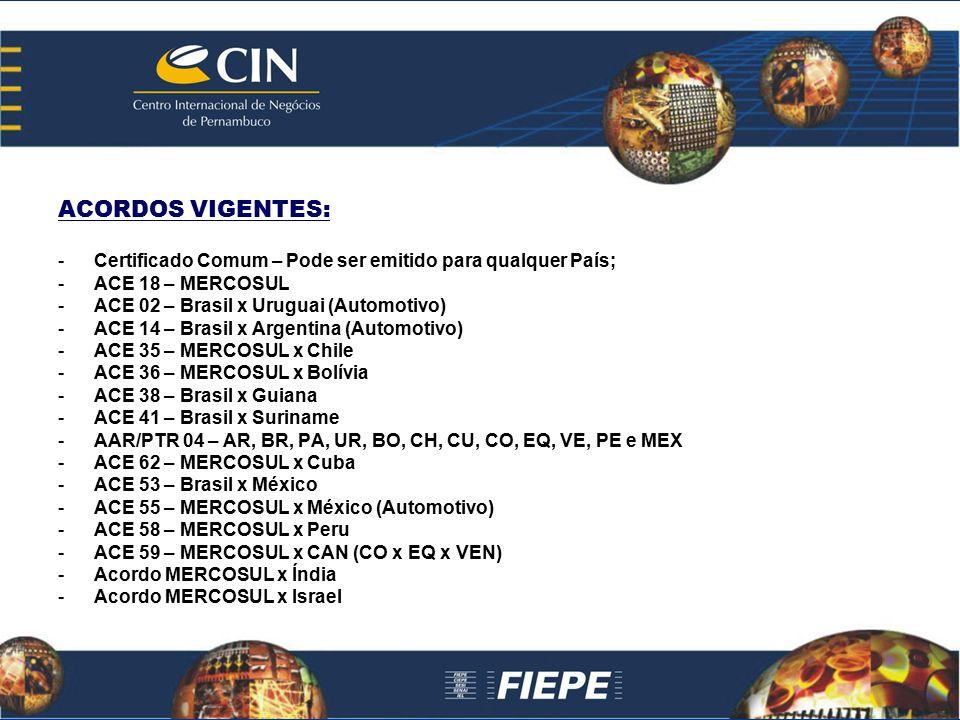 ACORDOS VIGENTES: Certificado Comum – Pode ser emitido para qualquer País; ACE 18 – MERCOSUL. ACE 02 – Brasil x Uruguai (Automotivo)