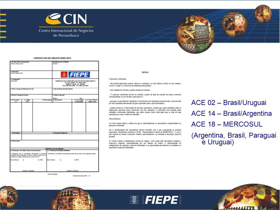 ACE 02 – Brasil/Uruguai ACE 14 – Brasil/Argentina.