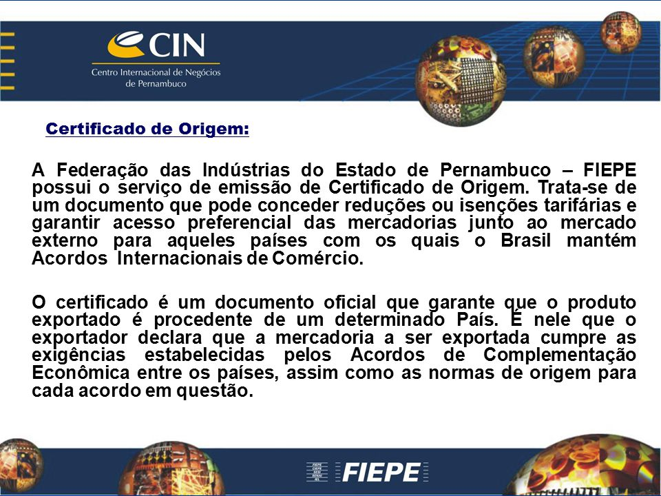 Certificado de Origem: