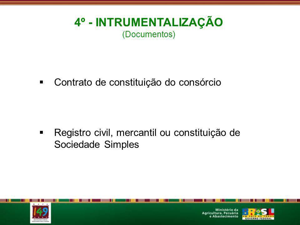 4º - INTRUMENTALIZAÇÃO Contrato de constituição do consórcio