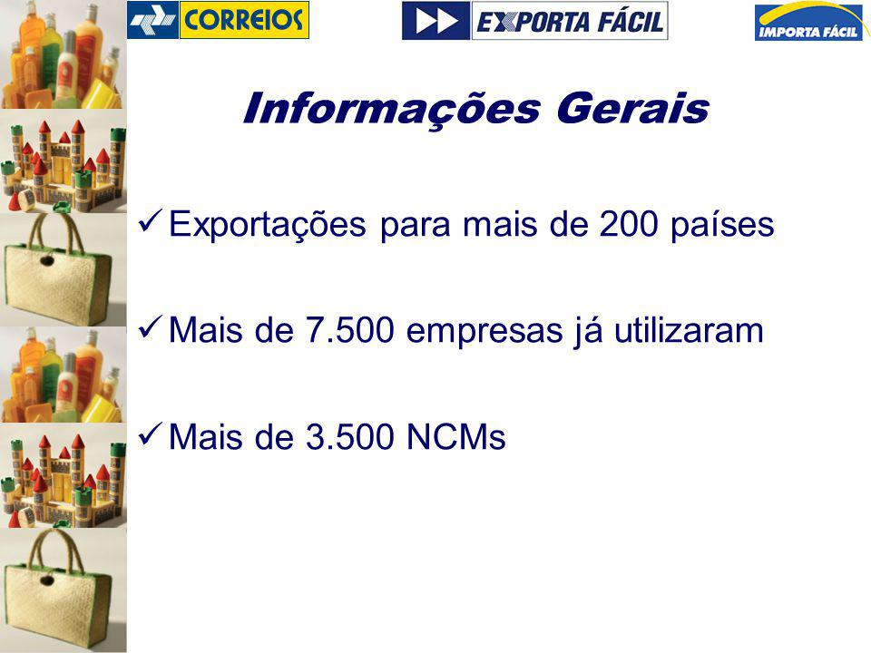 Informações Gerais Exportações para mais de 200 países