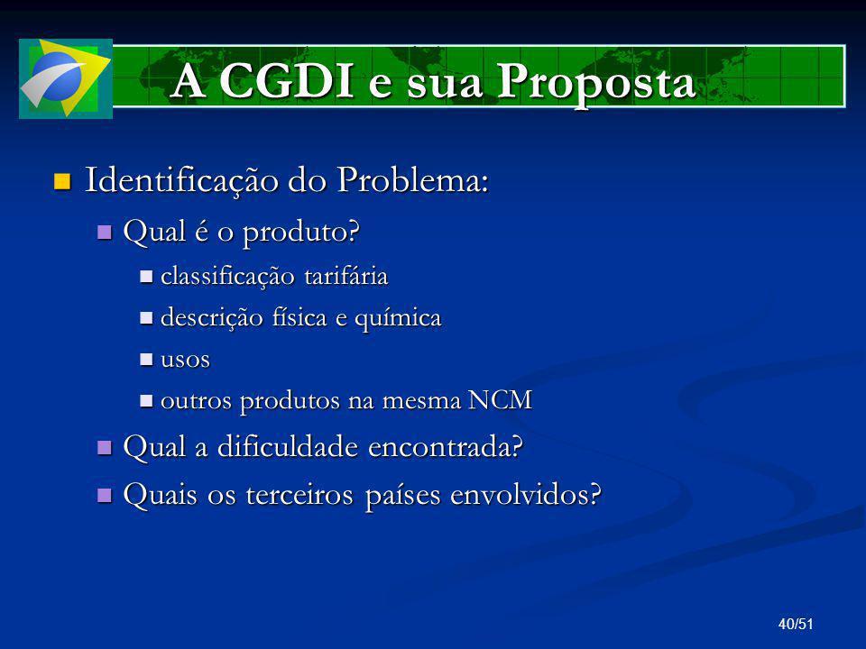 A CGDI e sua Proposta Identificação do Problema: Qual é o produto