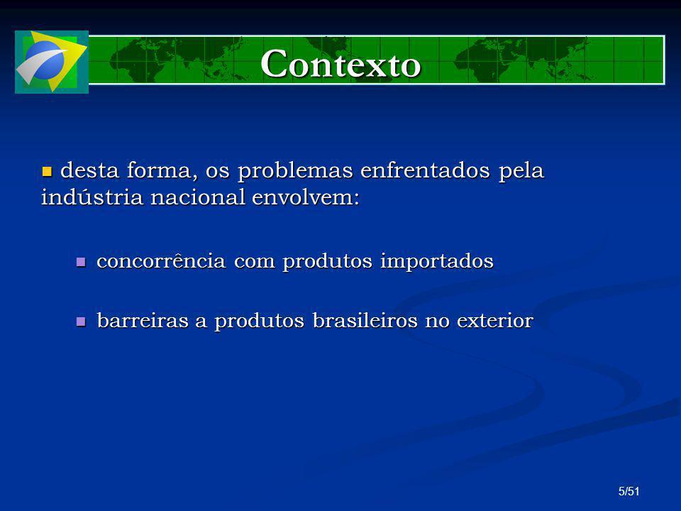 Contexto desta forma, os problemas enfrentados pela indústria nacional envolvem: concorrência com produtos importados.