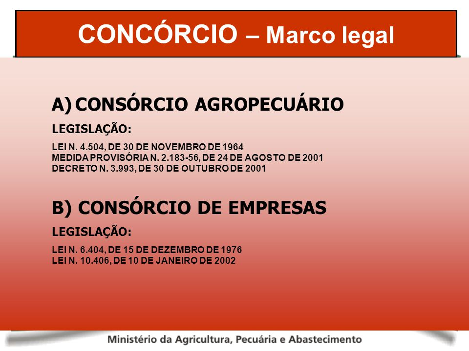 CONCÓRCIO – Marco legal