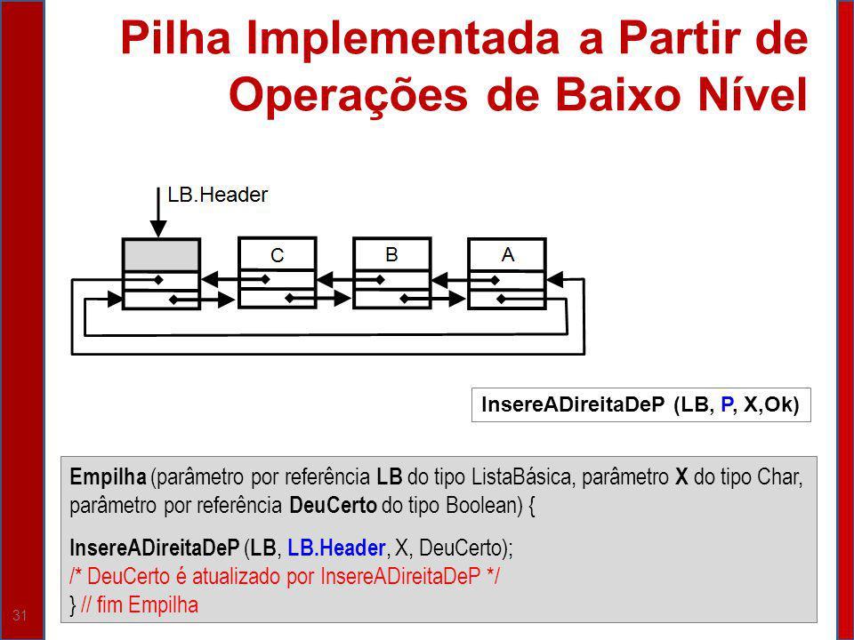 Pilha Implementada a Partir de Operações de Baixo Nível