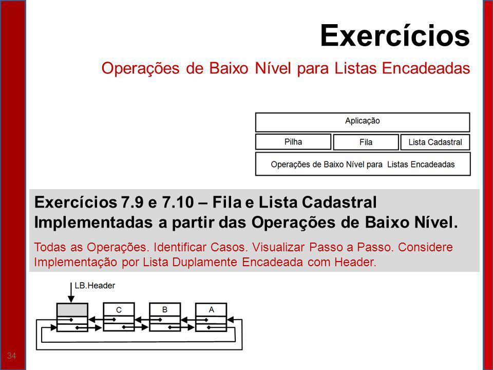 Exercícios Operações de Baixo Nível para Listas Encadeadas