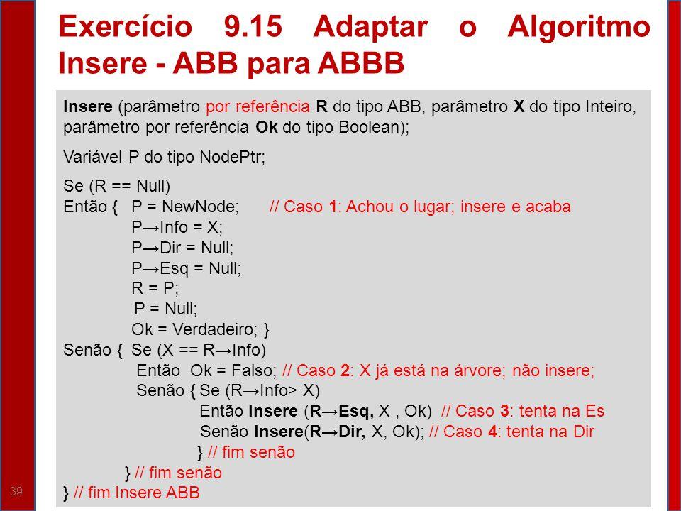 Exercício 9.15 Adaptar o Algoritmo Insere - ABB para ABBB