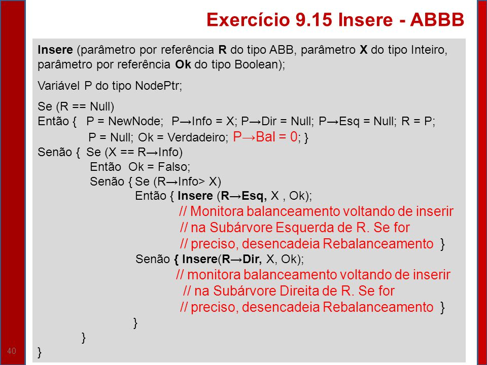 Exercício 9.15 Insere - ABBB