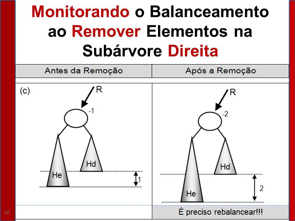 Monitorando o Balanceamento ao Remover Elementos na Subárvore Direita