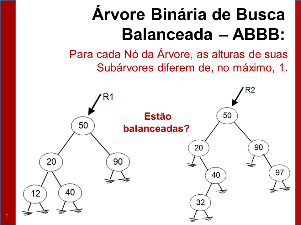 Árvore Binária de Busca Balanceada – ABBB:
