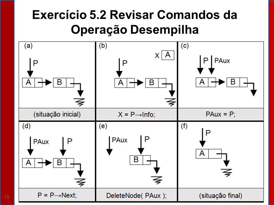 Exercício 5.2 Revisar Comandos da Operação Desempilha