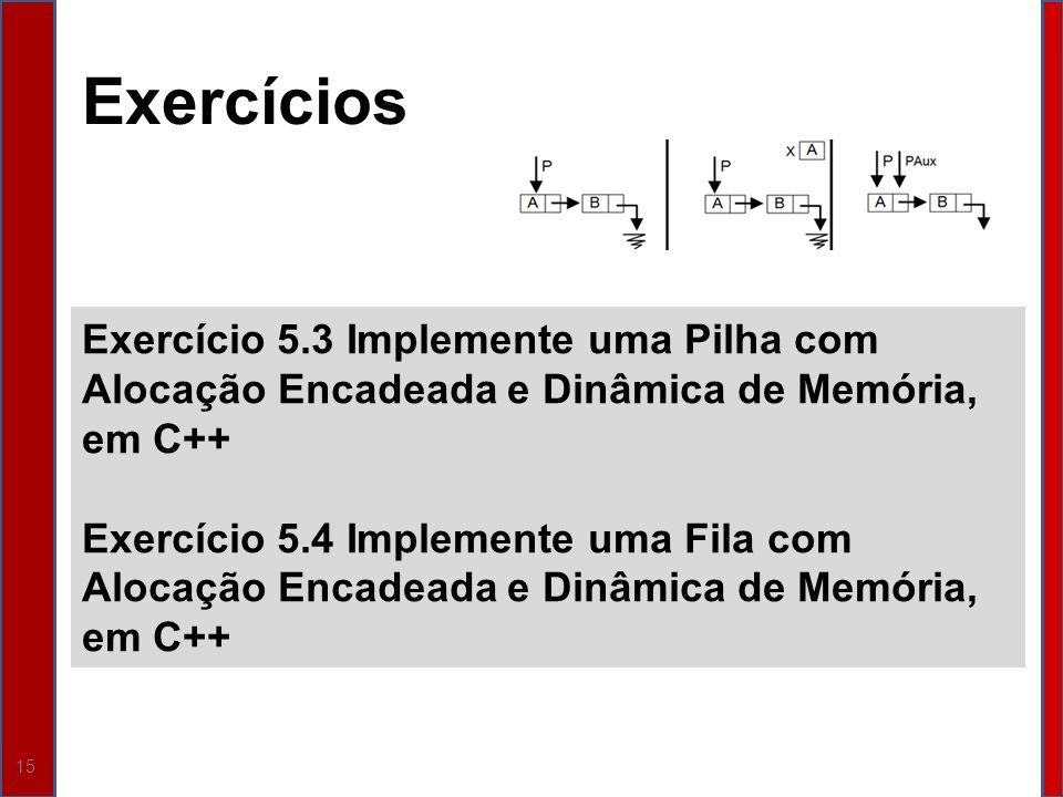 Exercícios Exercício 5.3 Implemente uma Pilha com Alocação Encadeada e Dinâmica de Memória, em C++