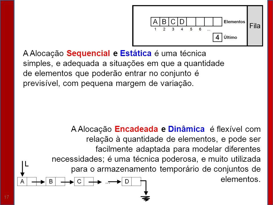 A Alocação Sequencial e Estática é uma técnica simples, e adequada a situações em que a quantidade de elementos que poderão entrar no conjunto é previsível, com pequena margem de variação.
