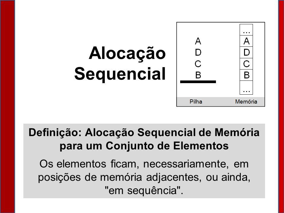 Alocação Sequencial Definição: Alocação Sequencial de Memória para um Conjunto de Elementos.