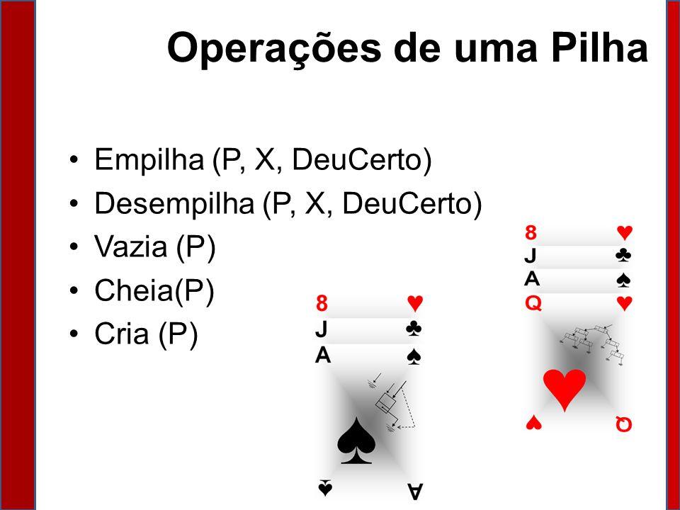 Operações de uma Pilha Empilha (P, X, DeuCerto)
