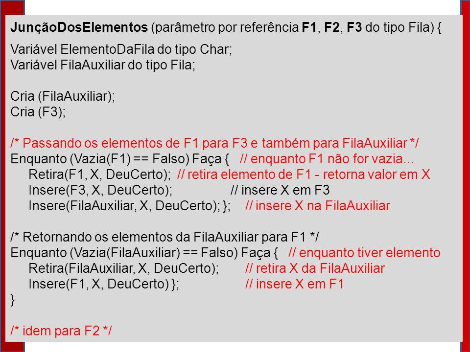 JunçãoDosElementos (parâmetro por referência F1, F2, F3 do tipo Fila) {