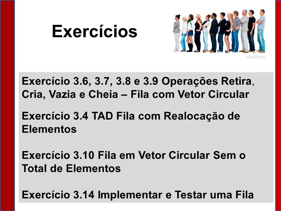 Exercícios iStochPhoto. Exercício 3.6, 3.7, 3.8 e 3.9 Operações Retira, Cria, Vazia e Cheia – Fila com Vetor Circular.