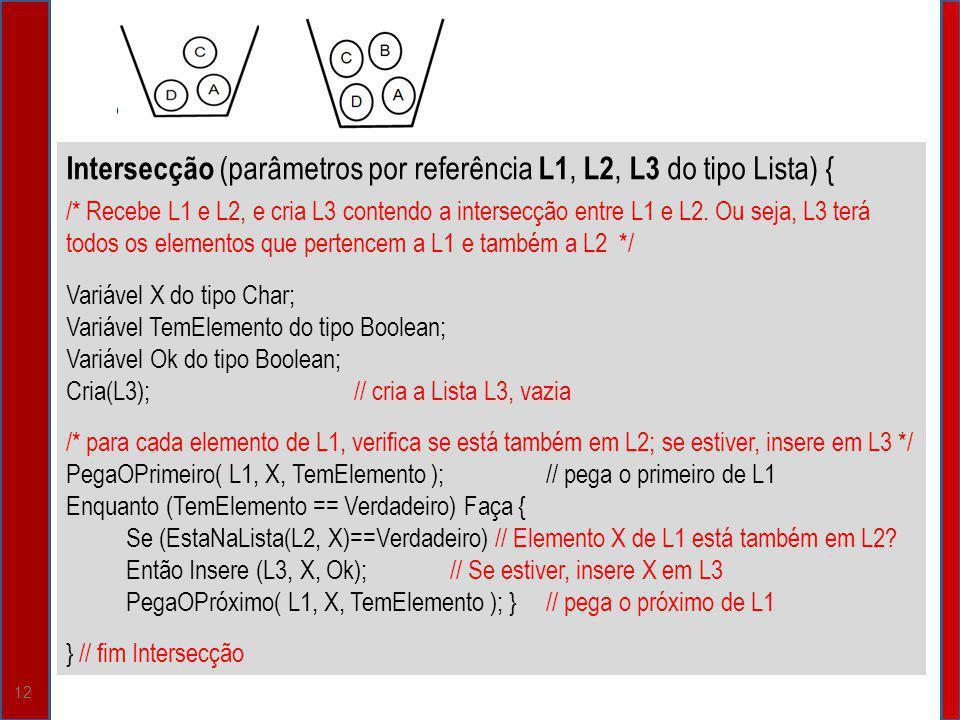 Intersecção (parâmetros por referência L1, L2, L3 do tipo Lista) {
