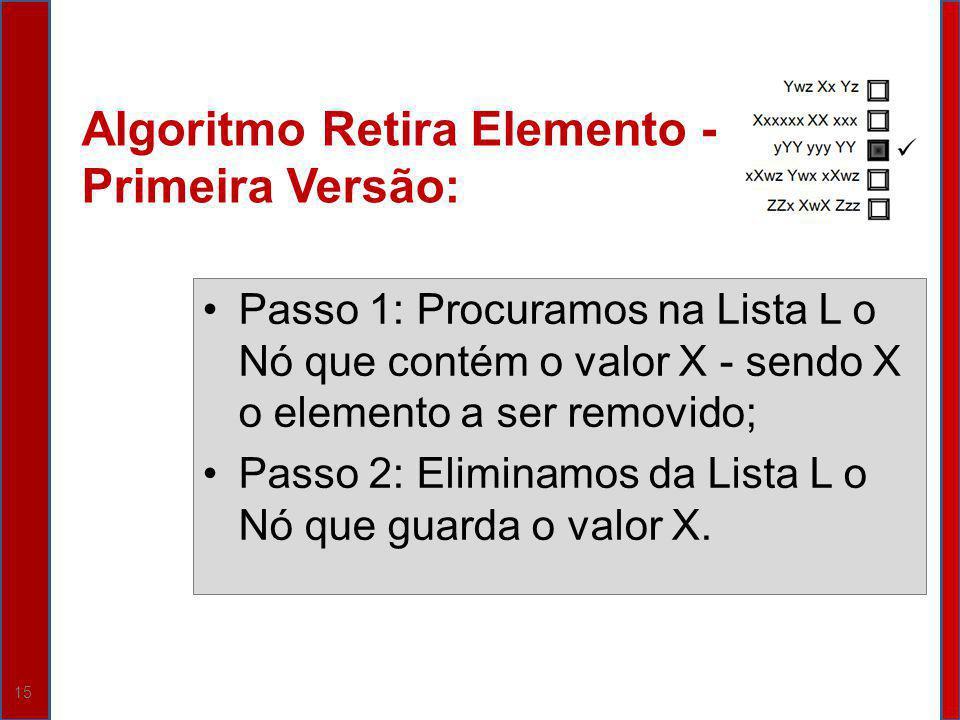 Algoritmo Retira Elemento - Primeira Versão: