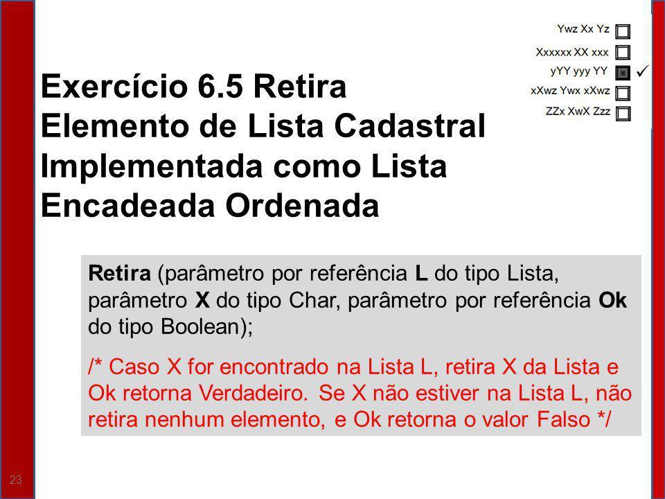 Exercício 6.5 Retira Elemento de Lista Cadastral Implementada como Lista Encadeada Ordenada