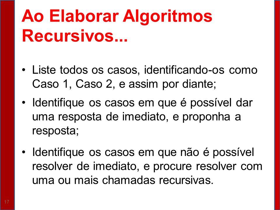 Ao Elaborar Algoritmos Recursivos...