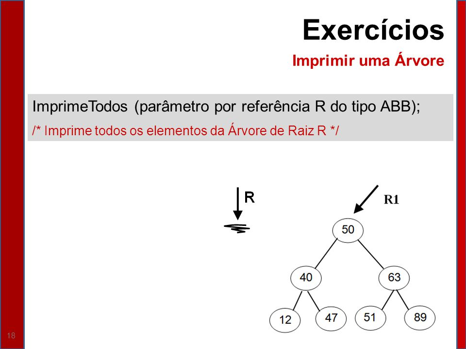 Exercícios Imprimir uma Árvore