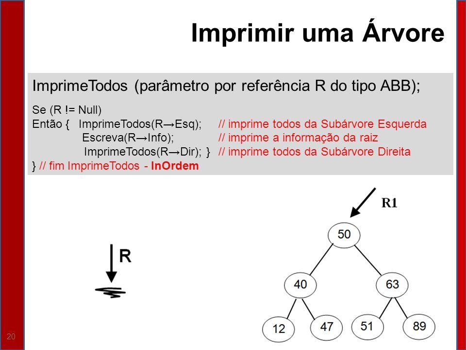 Imprimir uma Árvore ImprimeTodos (parâmetro por referência R do tipo ABB); Se (R != Null)