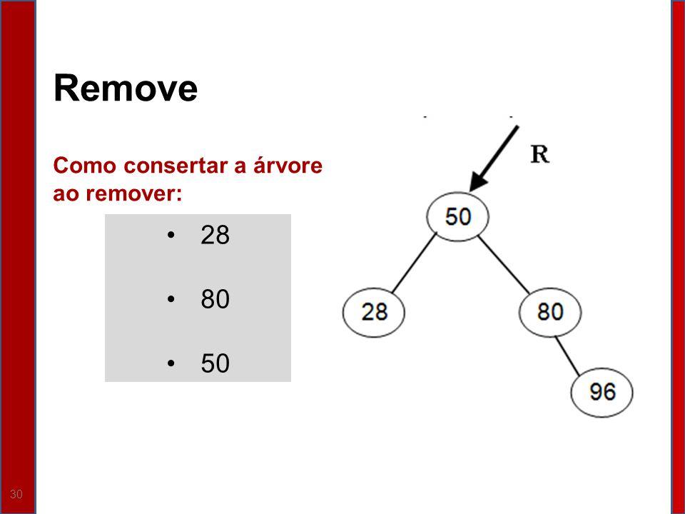 Remove Como consertar a árvore ao remover: 28 80 50