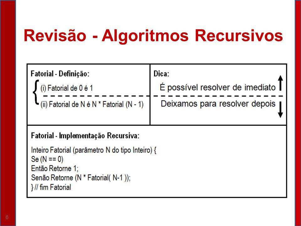 Revisão - Algoritmos Recursivos