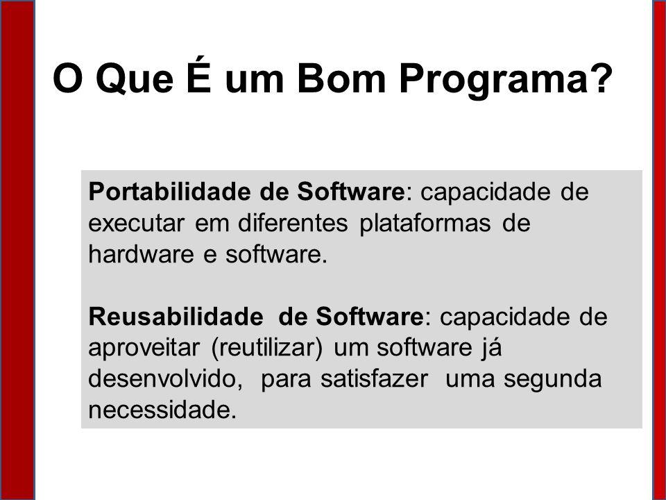 O Que É um Bom Programa Portabilidade de Software: capacidade de executar em diferentes plataformas de hardware e software.