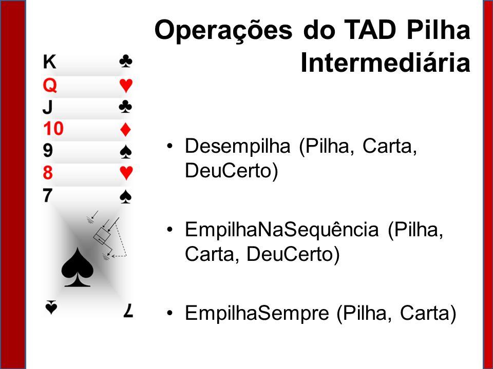 Operações do TAD Pilha Intermediária