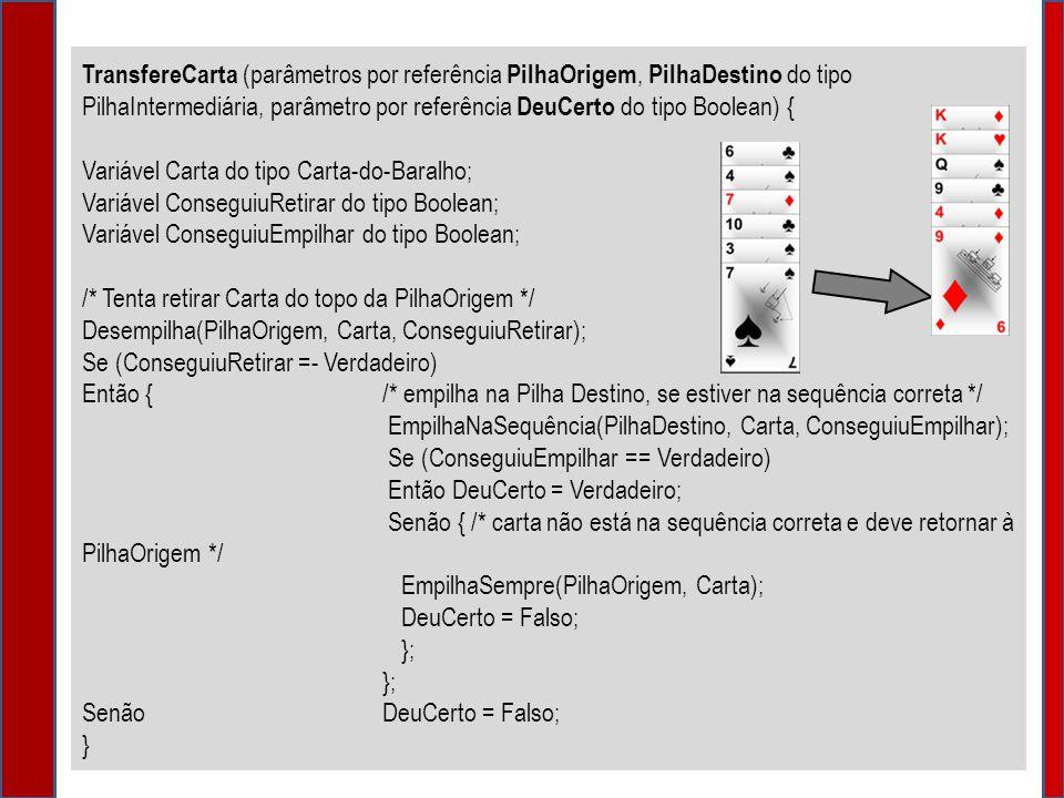 TransfereCarta (parâmetros por referência PilhaOrigem, PilhaDestino do tipo PilhaIntermediária, parâmetro por referência DeuCerto do tipo Boolean) {