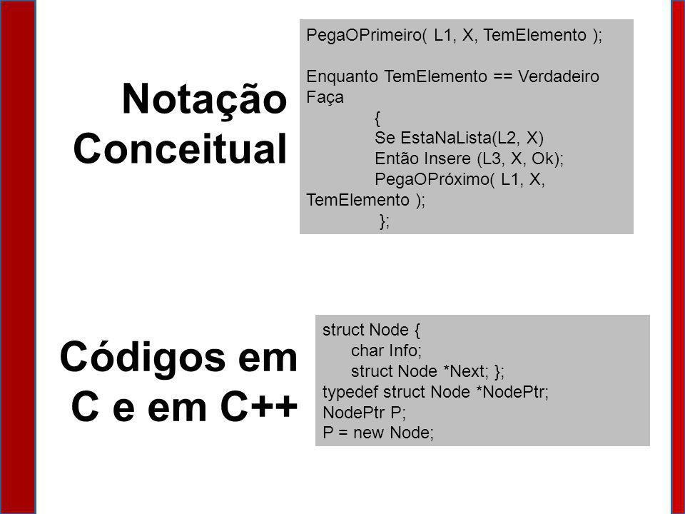 Notação Conceitual Códigos em C e em C++