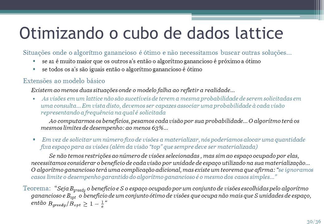 Otimizando o cubo de dados lattice