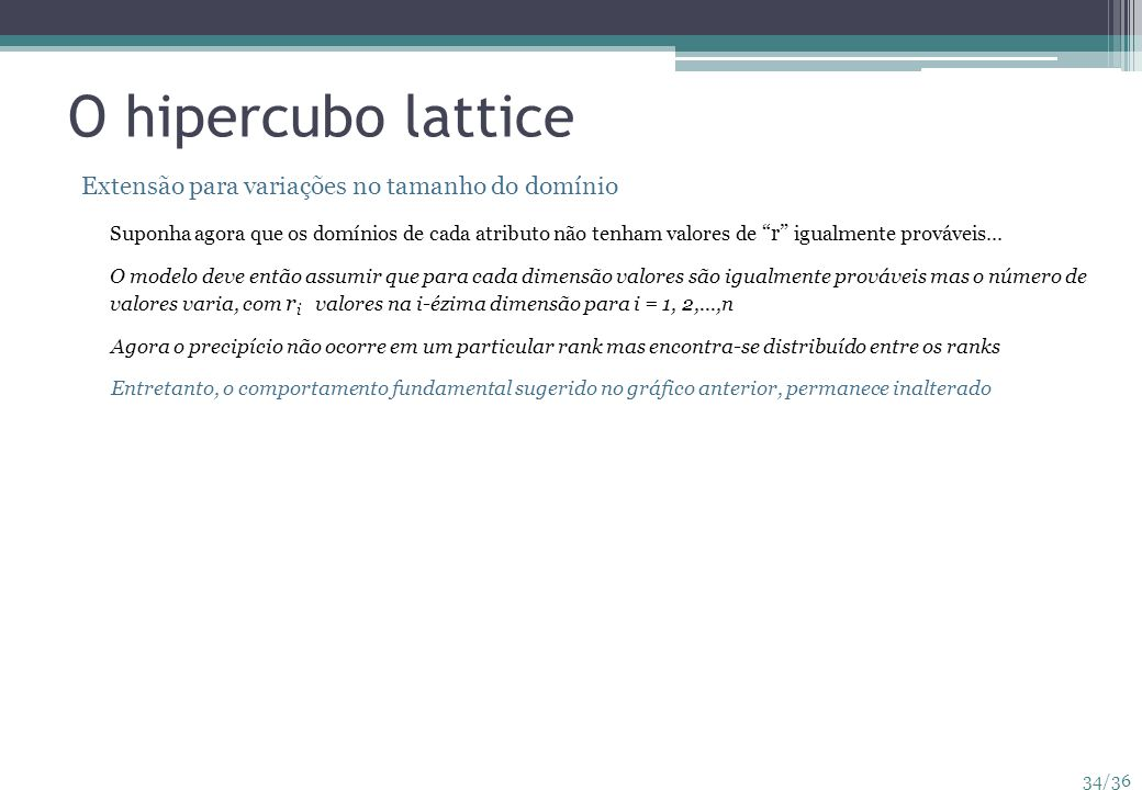 O hipercubo lattice Extensão para variações no tamanho do domínio