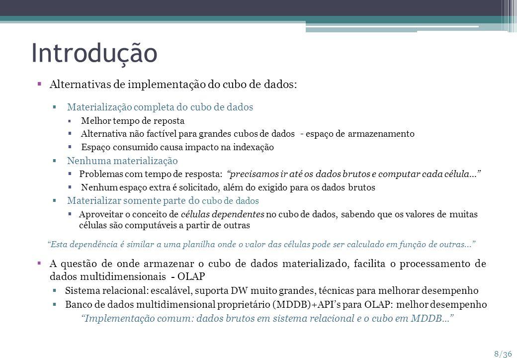 Introdução Alternativas de implementação do cubo de dados: