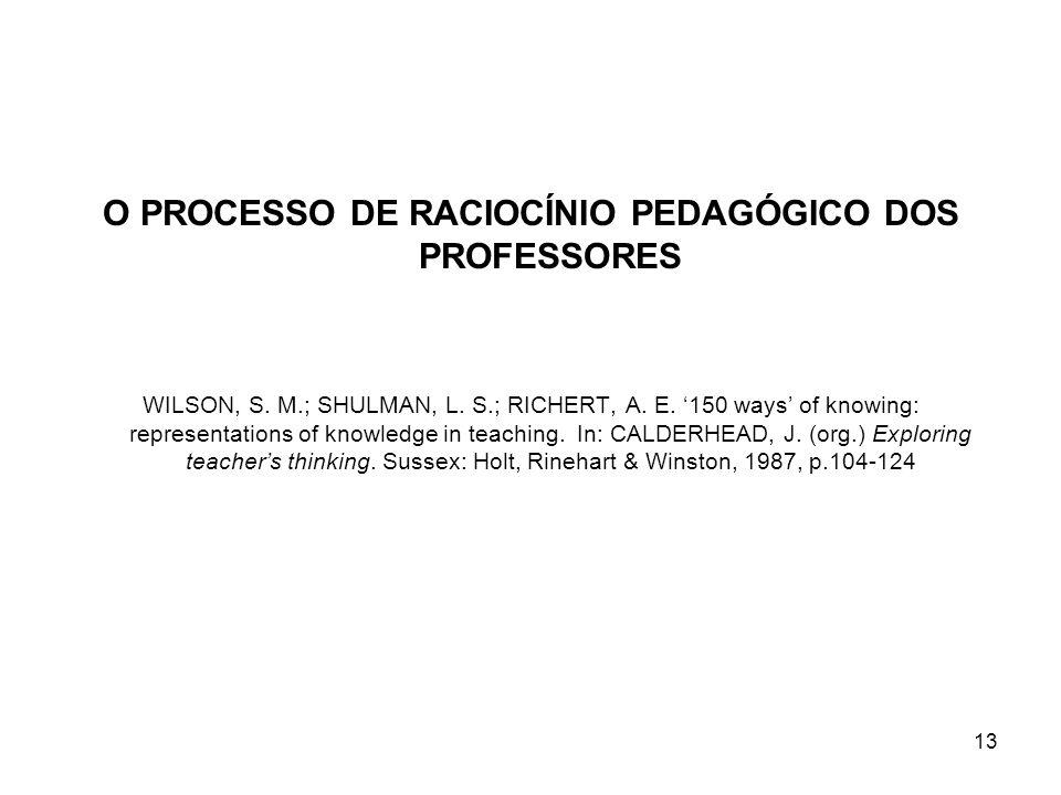 O PROCESSO DE RACIOCÍNIO PEDAGÓGICO DOS PROFESSORES