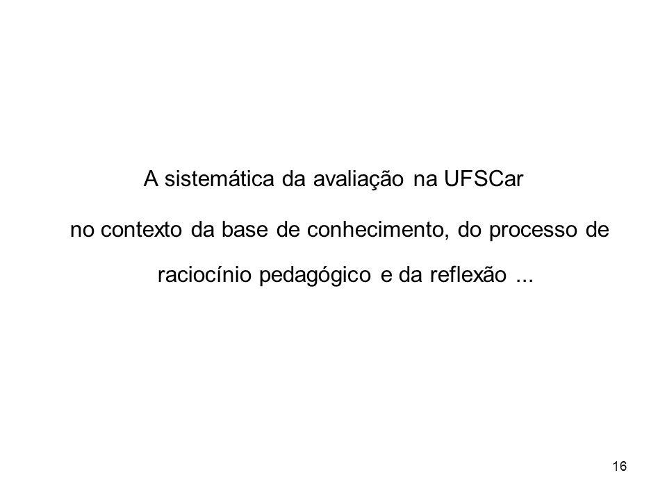 A sistemática da avaliação na UFSCar