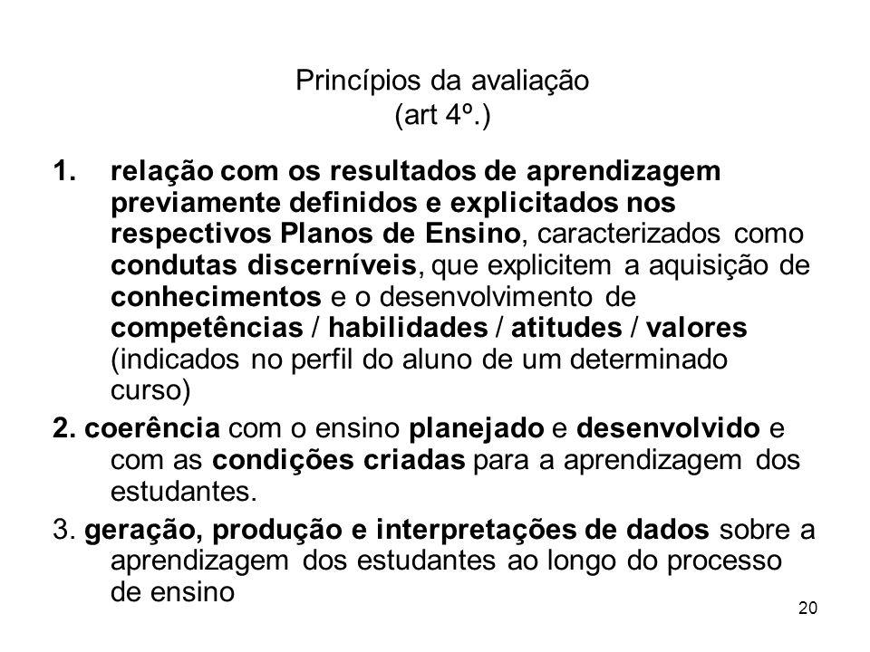 Princípios da avaliação (art 4º.)
