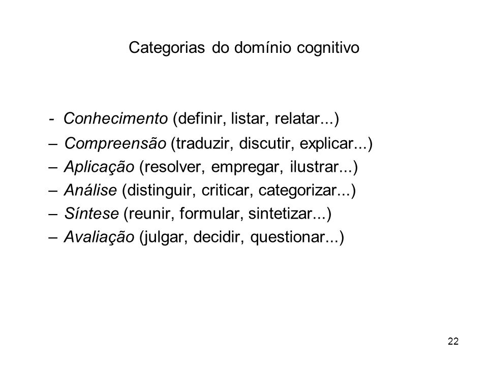 Categorias do domínio cognitivo
