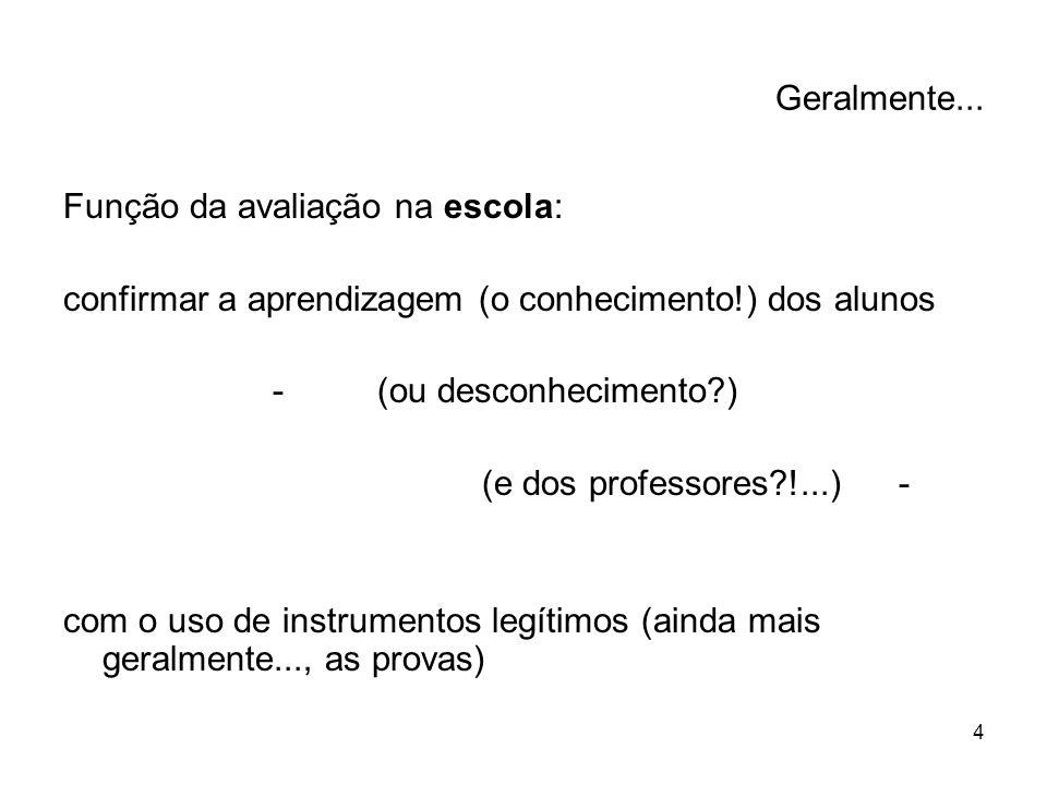 Geralmente... Função da avaliação na escola: confirmar a aprendizagem (o conhecimento!) dos alunos.